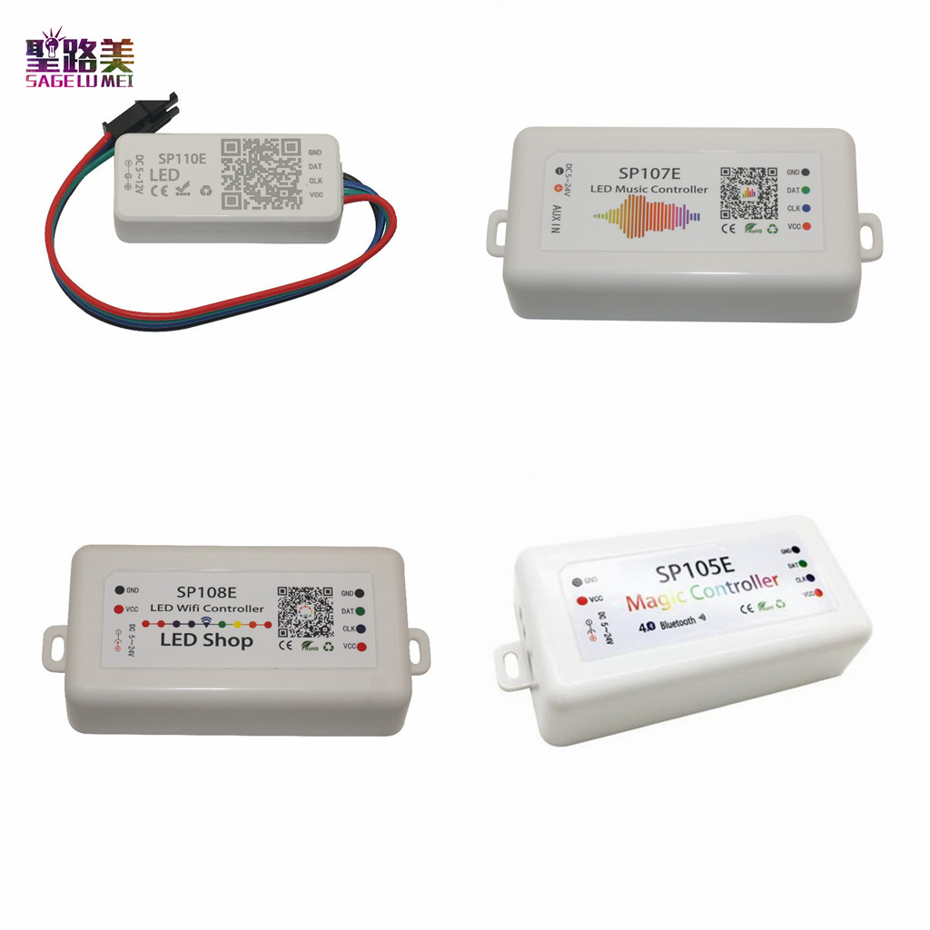 DC5-24V SP110E SP105E LED Bluetooth Controller SP107E เพลง SP108E WiFi Controller สำหรับ WS2811 WS2812 พิกเซล LED Strip เทป
