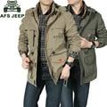 AFS JEEP Brand Clothing Jacket Men Bomber Jacket Military Army Green Multi-pocket Waterproof Windbreaker Coat Free Shipping