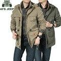Afs jeep homens jaqueta de marca clothing multi-bolso da jaqueta bomber militar do exército verde casaco corta-vento impermeável frete grátis