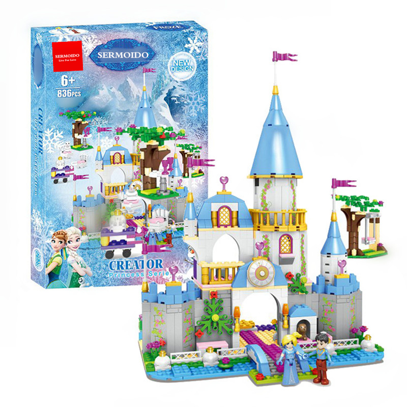 Cinderella Princess Castle City set 836Pcs Model Building Block Kid DIY Toy Funny Birthday Gift Compatible With Lepine B43 lepine 16008 cinderella princess castle 4080pcs model building block toy children christmas gift compatible 71040 girl lepine