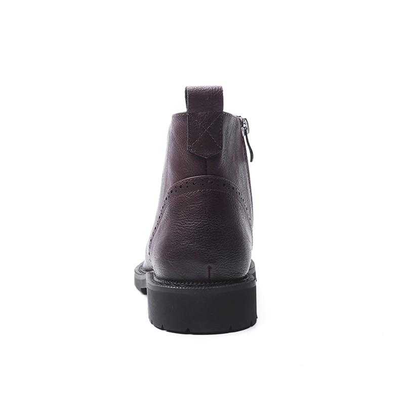 Homens Red Chelsea Genuína Do Couro Botas Zipper De Masculino wine Qualidade Vintage Black Boot Moto Alcubieree Mocassim Alta Ankle Sapato rRRqxw4HO5