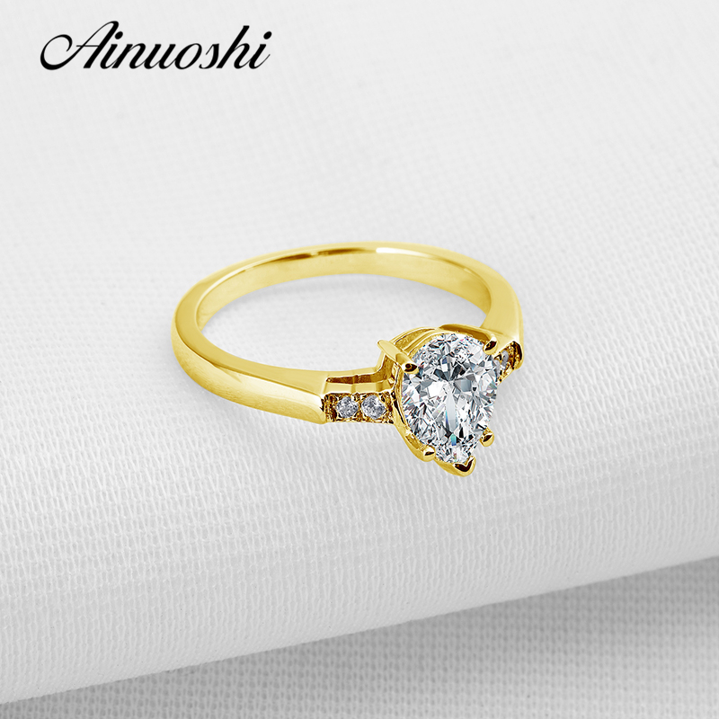 AINUOSHI 10k Solid Yellow Gold Women Wedding Ring 1.5 CT Pear Cut Sona Simulated Diamond Promise Anelli Elegant Lover Band Rings ainuoshi 10k solid yellow gold wedding ring 1 25 ct solitaire simulated diamond anelli donna brilliant proposal rings for women