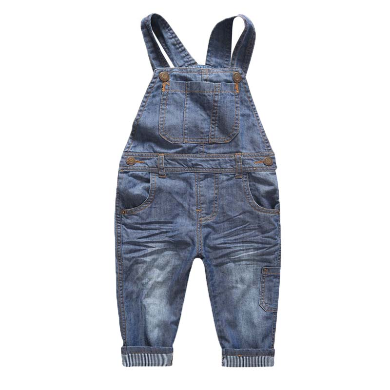 Spring and Summer Korean Fashion and Elegant Simple Cute Happy Child Denim Trousers Overalls