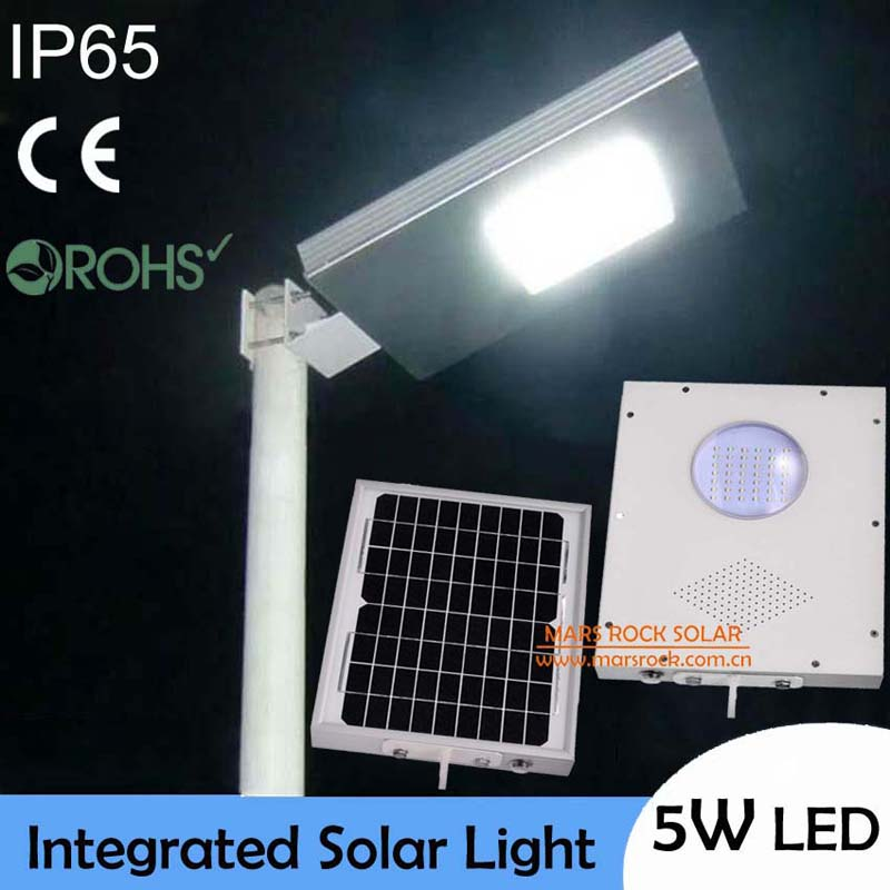 IP65 Waterproof! 5W Outdoor LED Solar Light,10W Solar Panel with 4AH Battery All In One, Integrated Solar Street Light, CE RoHS 40w led solar street light solar sensor light 60w solar panel 27ah battery all in one integrated outdoor solar light waterproof