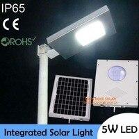 Nuevo ¡IP65 resistente al agua! Luz Solar LED de 5 W para exteriores, Panel Solar de 10W con batería 4AH todo en uno, luz de calle Solar integrada, CE RoHS