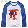 Jiuhehall hero 2017 nuevas muchachas de los bebés de dibujos animados camisetas completo de algodón de manga larga camiseta de los niños tops ropa de moda para niños dcm112