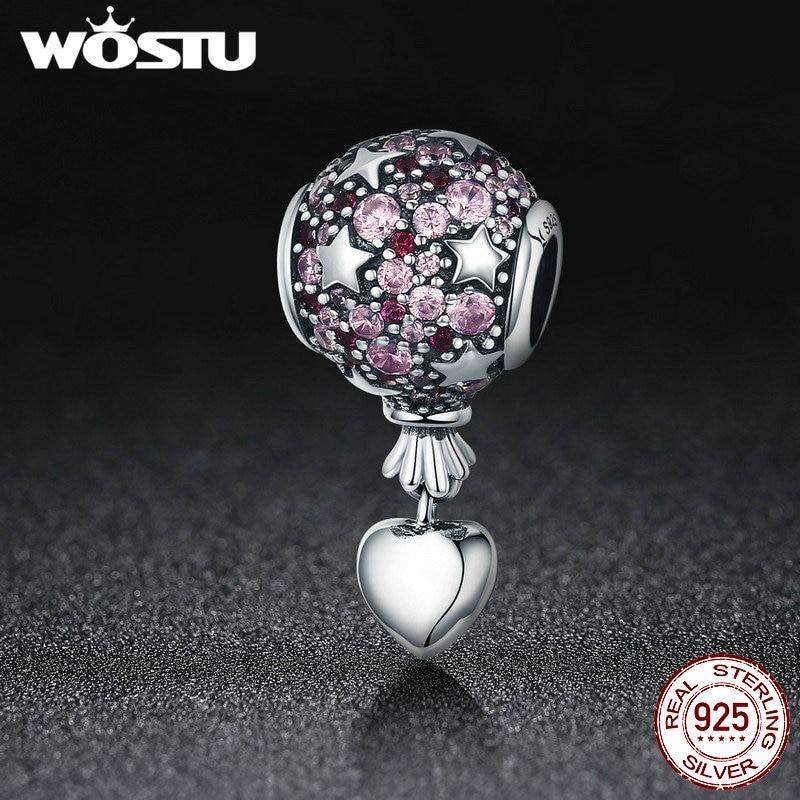 WOSTU Genuine 925 Sterling Silver Pink CZ Full Heart Pendant Stars Beads Charm fit for Women Original Bracelet S925 Gift BKC517 цена