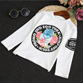 2016 Autumn Korean children boys printing T-shirt solid color round neck long-sleeved T-shirt boy