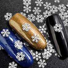 Christmas Nail Cequins Art Stickers Decals Snowflakes Glitter Hearts Gel Polish