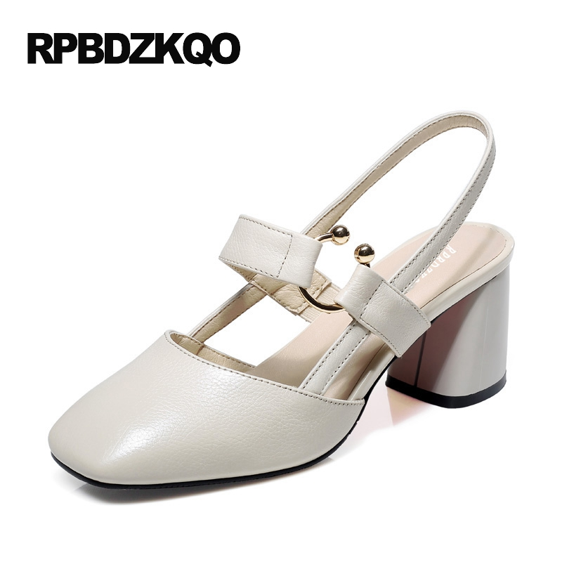 Chunky New Big Size Square Toe High Heels Ladies Beige Fashion Medium Slingback Genuine Leather Elegant Shoes Women Pumps 4 34 action figure toys one piece trafalgar law ver 2 5 action figure collection model toy 24cm