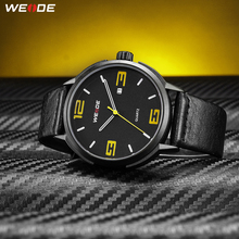 WEIDE High Quality Brand Fashion Casual Calendar Quartz Analog Auto Date Mens Clock Wristwatches Black PU Leather Strap Hours weide watch men sport water resist black leather strap led display auto date quartz wristwatches masculino clock relojes hombre