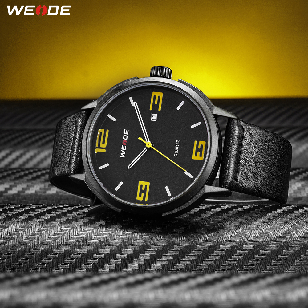 WEIDE Top Luxury Brand Sports Casual Calendar Quartz Analog Auto Date Mens Clock Wristwatches Black PU Leather Strap Band HoursWEIDE Top Luxury Brand Sports Casual Calendar Quartz Analog Auto Date Mens Clock Wristwatches Black PU Leather Strap Band Hours