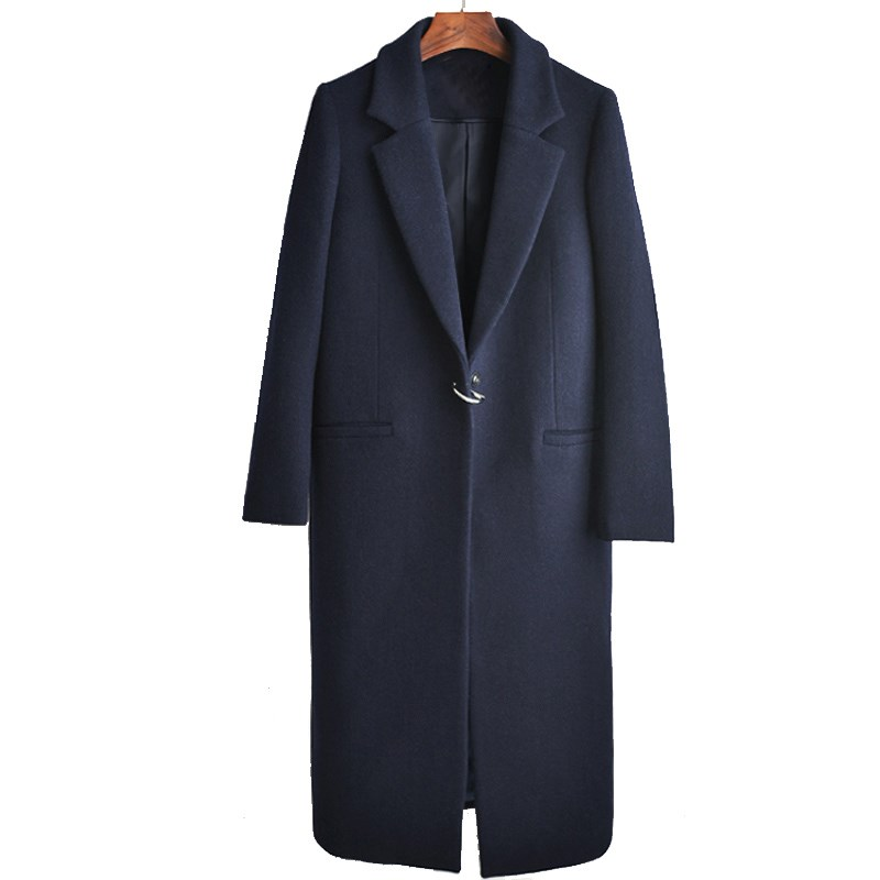 2018 New Autumn Winter Women Long Woolen Coat Solid Fashion Dark Button Plus Size Coat Female Navy Blue Woolen Outerwear