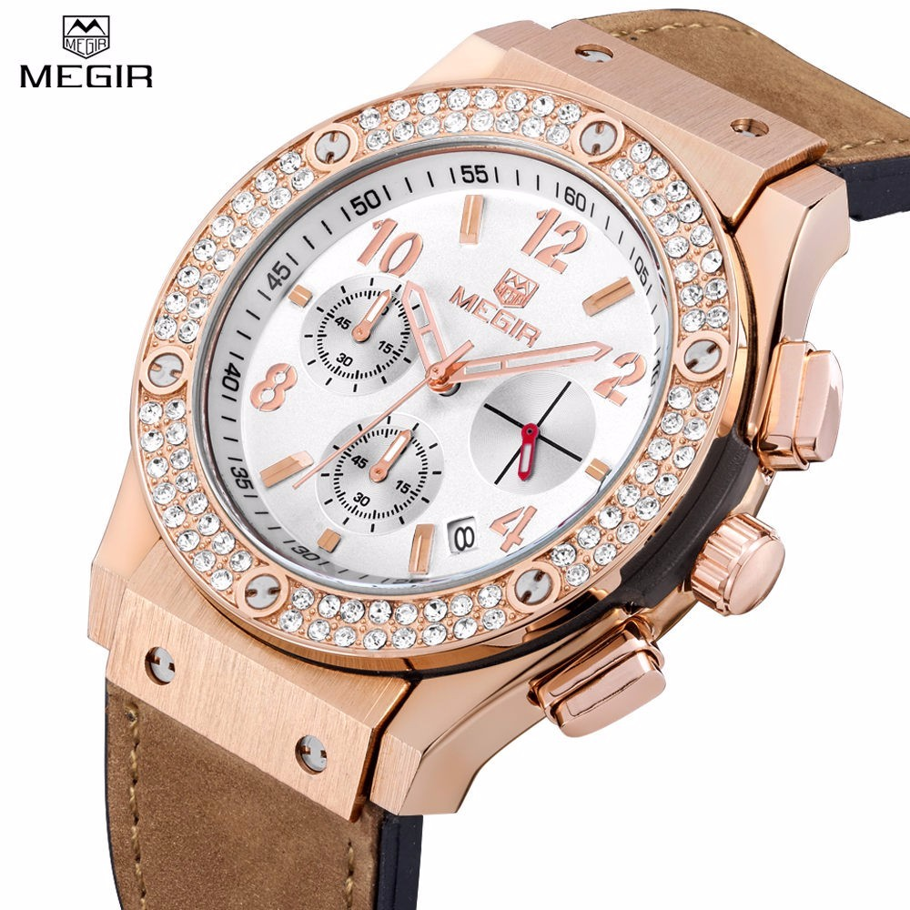 Prix pour MEGIR Casual Montre de Sport Femmes Diamant Chronographe Horloge Femme Montres 2017 Marque De Luxe Quartz-Montre relogio feminino dourado