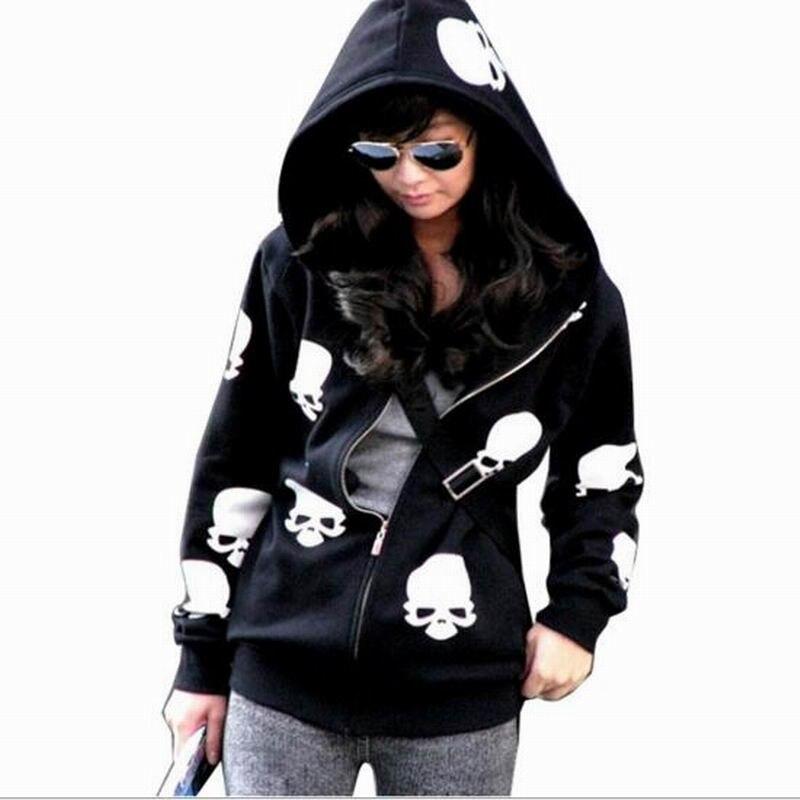 2016 New Arrivals Women Clothes Sweatshirts Zip UP Girl Hoodies Halloween Costume Skeleton Printed Hoodies for Women Feminina