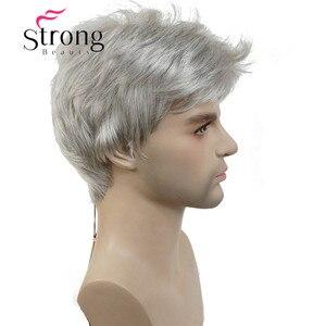 Image 3 - StrongBeauty קצר כסף אפור פאה Mens קצר סינטטי שיער פאות צבע אפשרויות