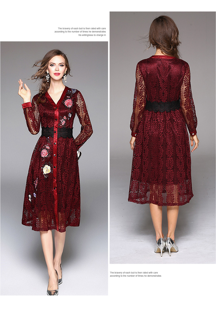 Sky Blue V-neck Floral Embroidered Lace Dress Autumn Dresses Women 2018 Vestido De Festa Hollow Out Christmas Dress K945180 5