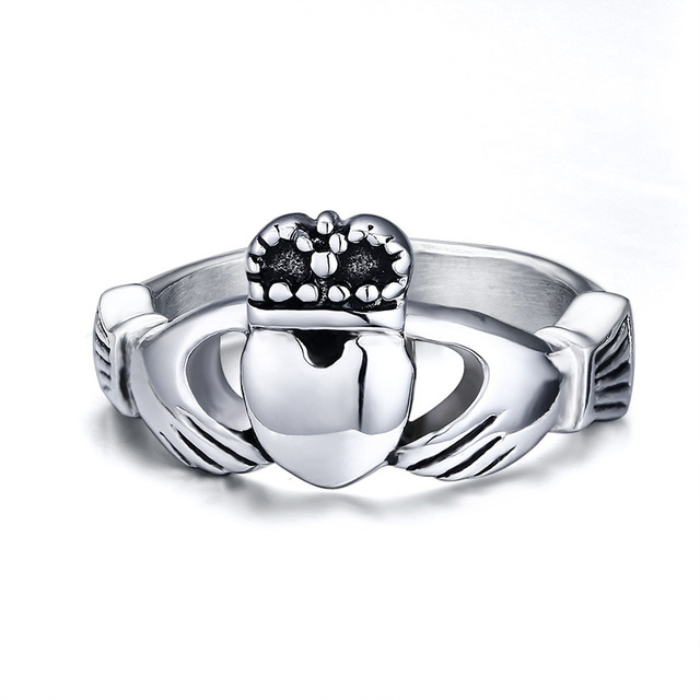 Womens Titanium Steel Claddagh Ring Traditional Irish Wedding Ring