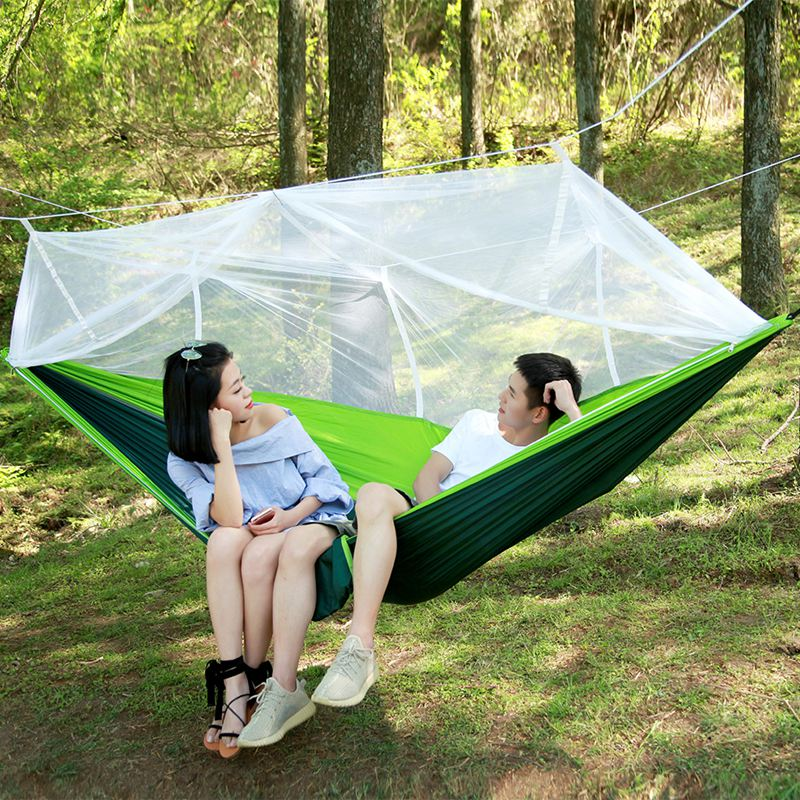 Portable High Strength Parachute Fabric Camping Travel Survival Hammock Hanging Bed With Mosquito Net Sleeping Hammock Travel