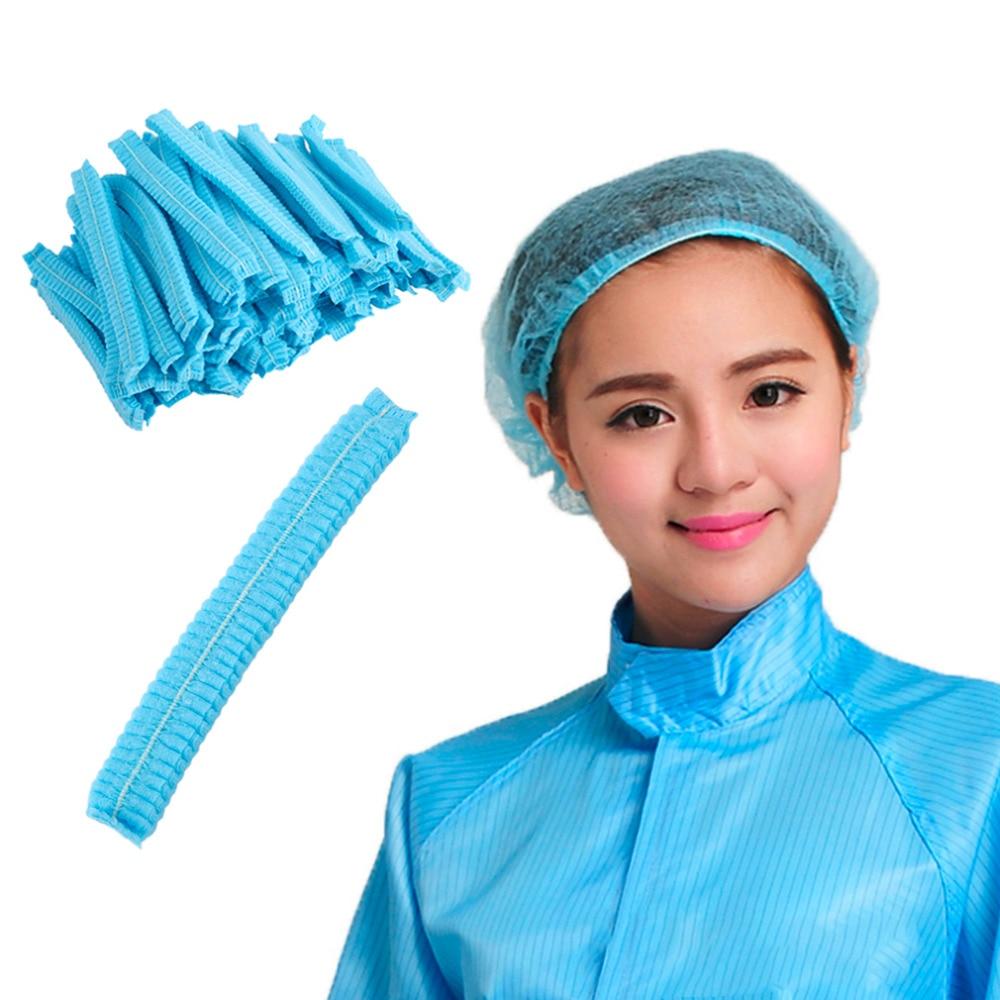 100 Pcs Disposable Breathable Dustproof Head Cover Mob Cap Hat Hair Net Non Woven Anti Dust Hats Women Hair Headband Accessories
