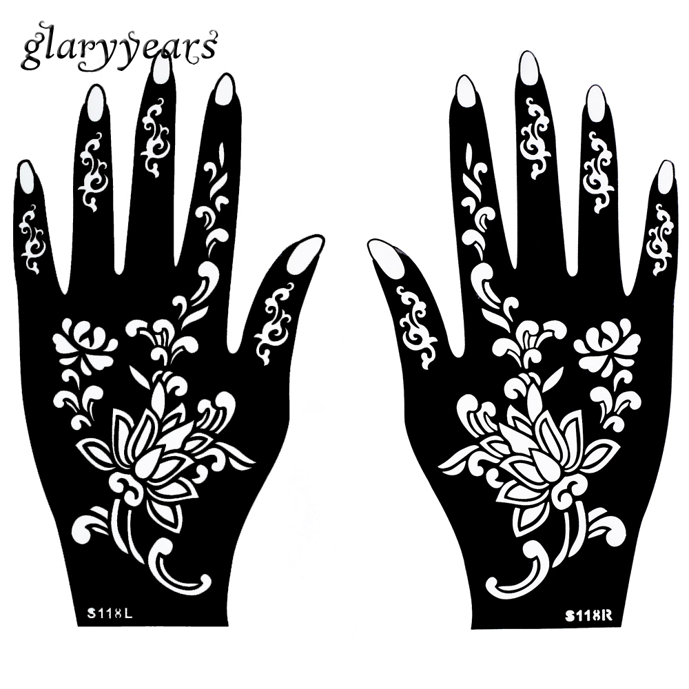 Henna Stencils: Aliexpress.com : Buy 1 Pair Hands Mehndi Henna Tattoo