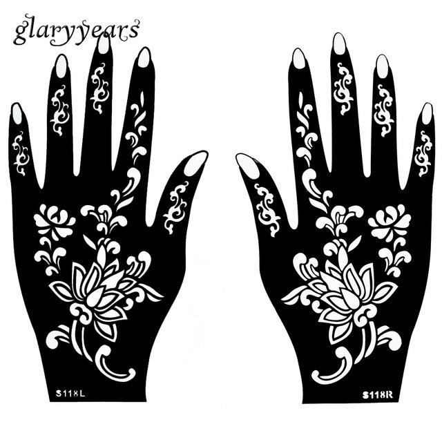 1 Pair Hands Mehndi Henna Tattoo Stencil Waterproof Flower Pattern ...