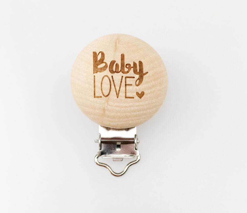 Let's Make Pacifier Clip 50pc Round Wooden Engrave Customizable Personalise Wooden Dummy Clip Accessory Baby Teether 29*35mm
