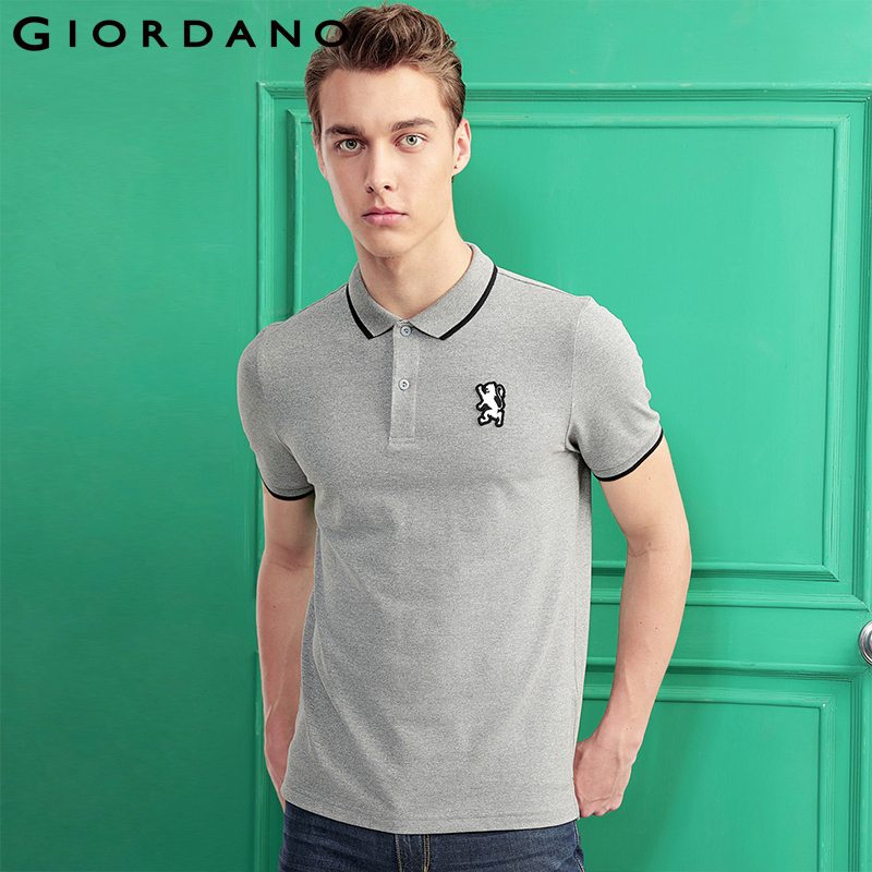 Giordano Men   Polo   Shirt Short Sleeves Ribbed Collar   Polo   Shirts Quality Lion Embroidery 3D Style Famous Clothing