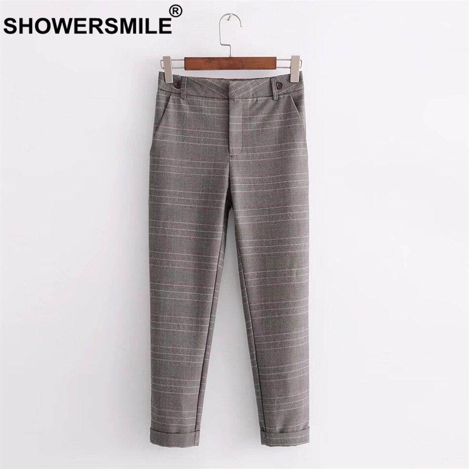 Longitud Del De La Británico Pantalones Cuadros Nuevo Pants Showersmile A Mujeres Con Otoño Vintage Las Mujer Tirantes Brown Tobillo Los Estilo qOtP7PWny