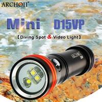 וידאו צלילה ארכון D15VP כתם אור לבן/אדום 3 יחידות CREE LED מקסימום 1300 לום 110/30 תואר צלילה מתחת למים 100 M פנס