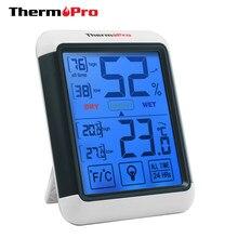 Thermopro tp55 estação meteorológica digital higrômetro termômetro interior com tela sensível ao toque e luz de fundo termômetro de umidade
