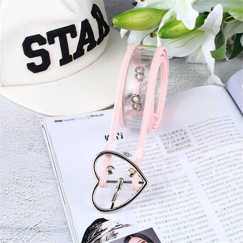 New Design Women's Strap Casual Cute Transparent PVC Women Strap White Color Belts Top Quality Fashion Heart Buckle Jeans Belt