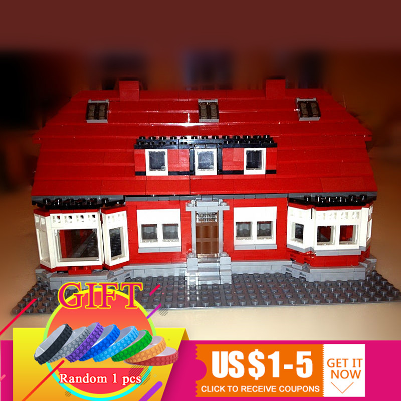 17006 928pcs Creative Serier The Red House Set Education Model Building Kits Blocks Compatible with 4000007 Children Toys lepin lepin creator home 17006 928pcs the red house set model 4000007 building kits blocks bricks educational toys for children gifts