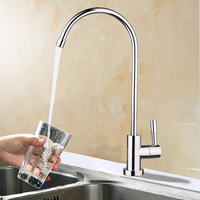 New 360 Degree Chrome Drinking Water Faucet 1 4 Stainless Steel Osmosis RO Water Filter Faucets