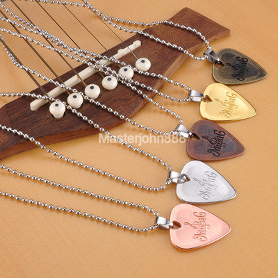 Vintage Style Copper Bronze Music Electric Rock Metal Guitar Picks Necklace Free Shipping