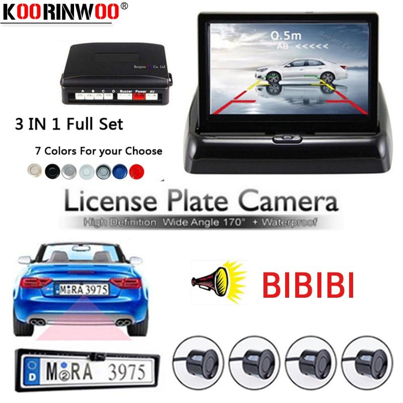 Koorinwoo Auto Elettromagnetico sensore di parcheggio 4.3 pollice TFT Monitor Auto Europe License Plate Frame Telecamera Per la Retromarcia Sistema di Parcheggio