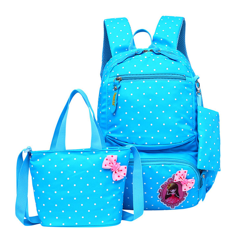 3 Pieces Lightweight Students School Backpack Set Nylon Dot School Bag For Girls Bookbags
