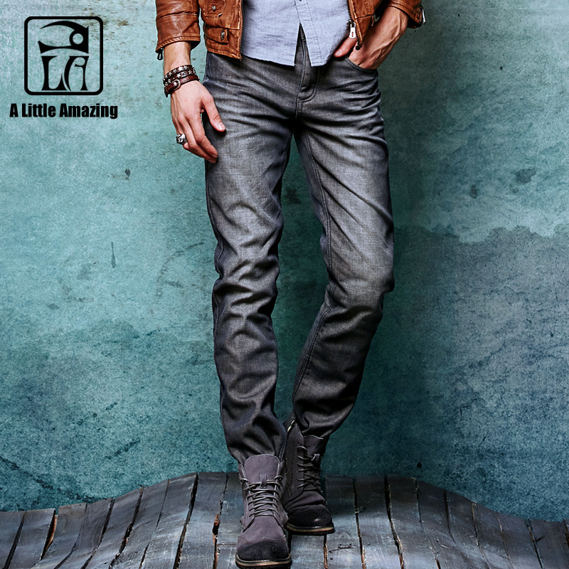 A LA MASTER 2017 Winter Thick Denim Jeans Mens Velvet Warm Vintage denim pants Male fleece cowboy Motorcycle Trousers 062205