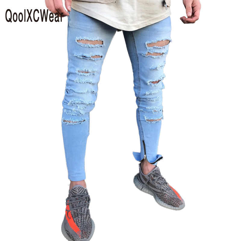 Men Stretch Zipper Ankle Hole Ripped Mens Jeans Motorcycle Elastic Distressed Jogger Pants White Skinny Jeans for Biker