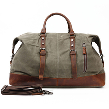 Waterproof Wax Canvas Messenger Bags Vintage military Large Capacity Travel Bag Men Handbags England Style Genuine Leather vicuna polo lrage capacity patchwork men travel bag perfect quality man leather travel bags england style mens travel handbags