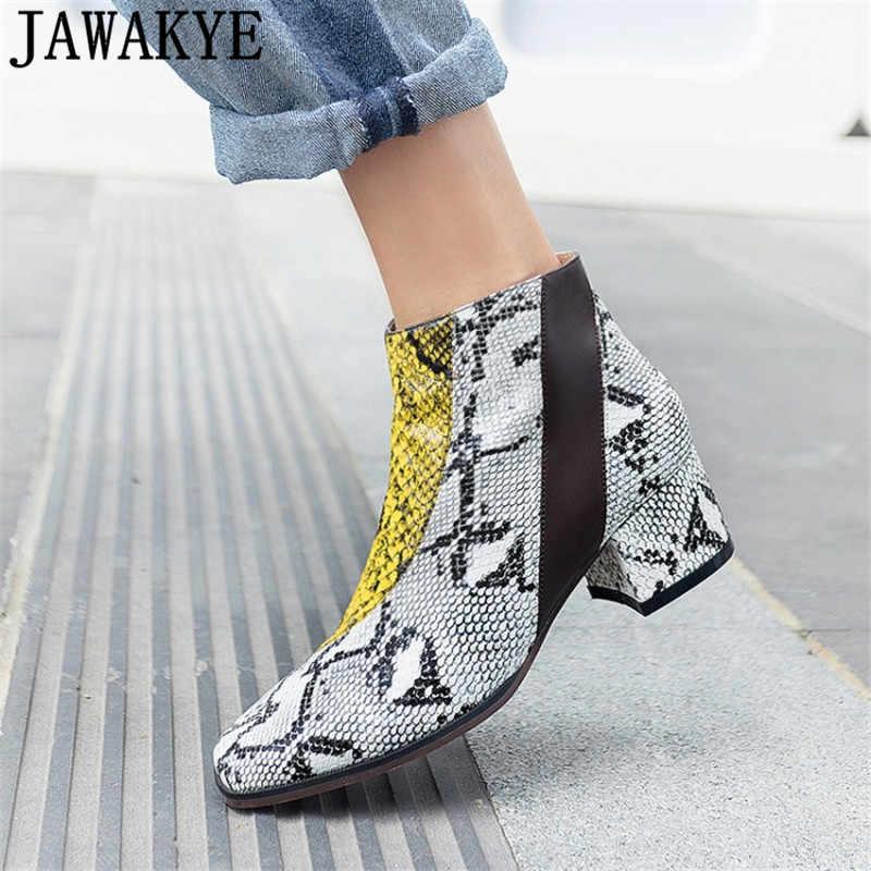 Gladyatör kısa çizmeler sonbahar yılan derisi PU deri yuvarlak ayak patchwork yarım çizmeler kadınlar için 2018 orta topuk botas mujer