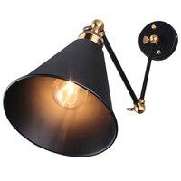 Retro Industrial Edison Simplicity Antique Wall Lamp with Metal Umbrella Shade Black