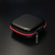 KZ High End Carbon Fiber Zipper Earphone Storage Box Headphones Earbuds Hard Case Trinketry Carrying Pouch