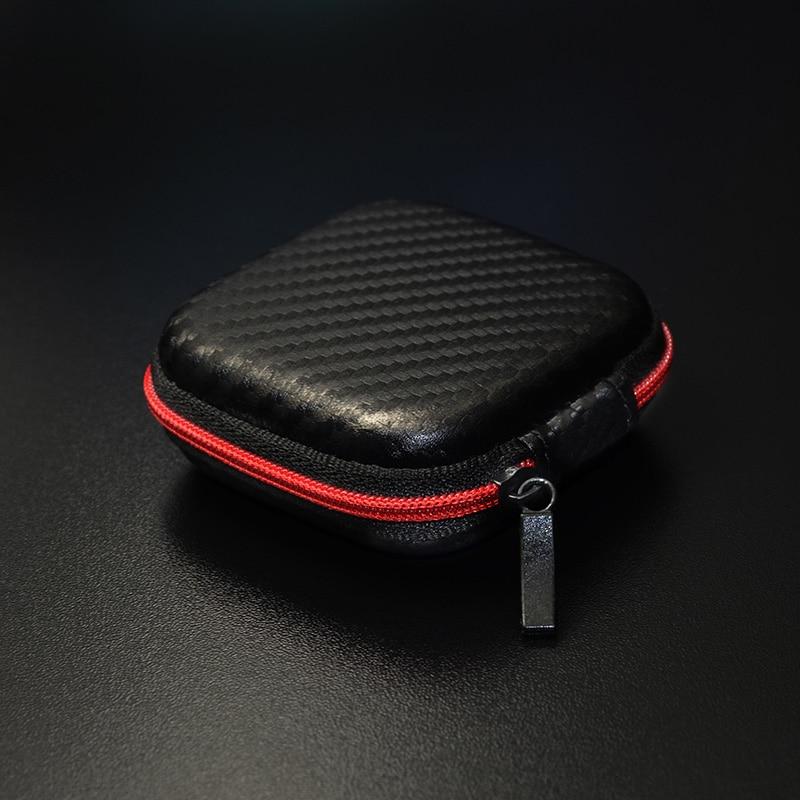 KZ High End Carbon Fiber Zipper Earphone Storage Box font b Headphones b font Earbuds Hard