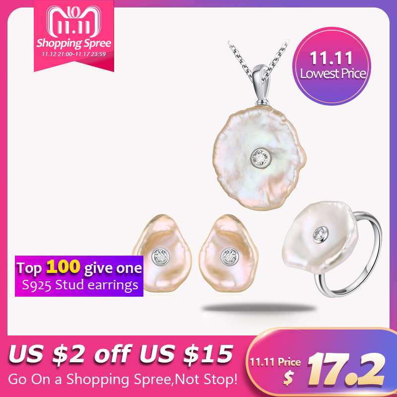 Hongye 925 Silver Jewelry Sets for Women Natural Freshwater Pearl Stud Earrings Flat Baroque Necklace Jewelry Set Wedding Gift solememo luxury crystal pearl jewelry set for women wedding silver round statement necklace sets pearl drop earrings new n6209