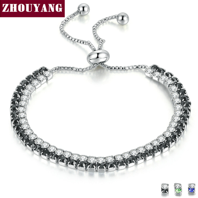 ZHOUYANG Bracelet For Women Luxury Style Double Color 4 Claws Mosaic Cubic Zirconia Silver Color Fashion Jewelry Gift H117 H118
