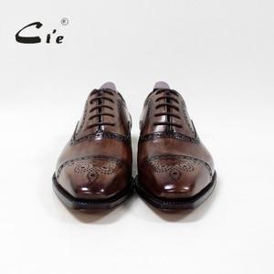 Image 4 - cie Bespoke Handmade Semi brogue Medallion Square Toe 100%Genuine Calf Leather Mens Dress Oxford Goodyear Welted Men Shoe OX 09