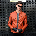 New Fashion Men Slim Motorcycle Leather Jacket Mens Solid Stand Collar Biker Coat Jackets Black Jaqueta De Couro Fc2294