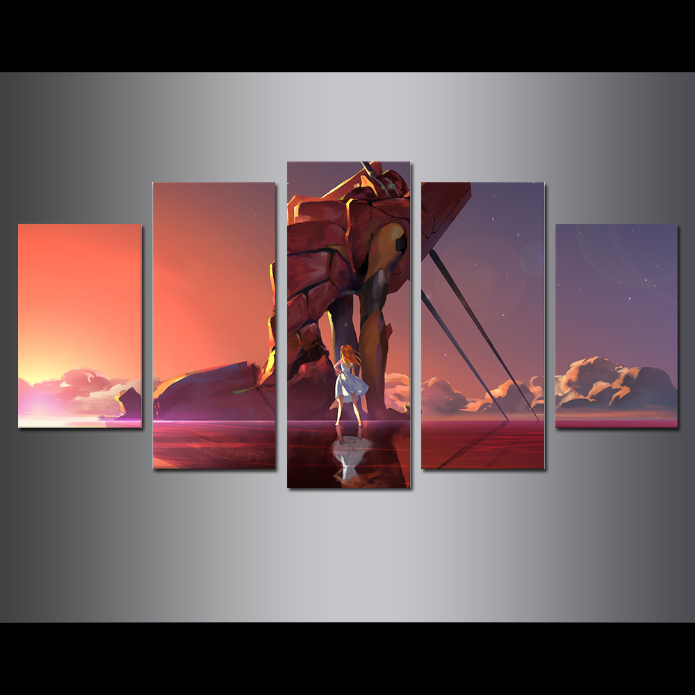 Unframed Canvas Painting Animation Beautiful Girl Gundam Modular Picture Prints Pictures For Living Room Wall Art Decoration