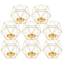 แพ็ค 8 3D เรขาคณิตชาแสงเทียนผู้ถือยืนงานแต่งงาน Centerpieces ตกแต่งบ้าน,GOLD